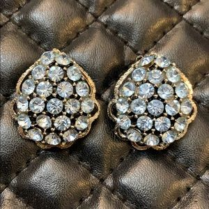 Vintage Weiss Art Deco Rhinestone Clip Earrings